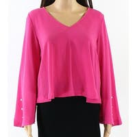 Abound Pink Pearl Bell Sleeve Crepe V-Neck Women's Size XXS Blouse