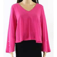Abound Pink Women Size XXS V-Neck Pearl Embellishment Bell-Sleeve Blouse 511