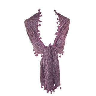 CTM® Women's Tassel Edges Textured Scarf - Lavender - One size
