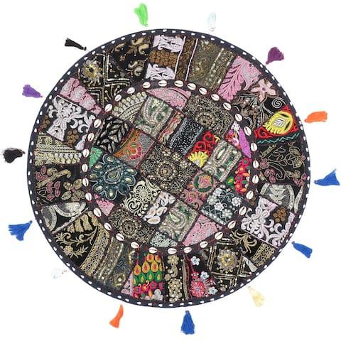 "Boho Patchwork Bohemian Round Floor Pillow Ottoman Pouf Seashell- 28"""