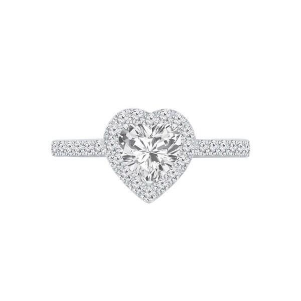 Auriya 14k Gold 1 1/4ctw Heart Shape Halo Diamond Engagement Ring. Opens flyout.