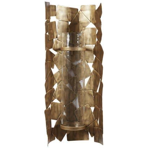 "Jailene Contemporary Antique Gold Wall Sconce - 10""W x 5""D x 24""H"