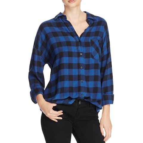 Rails Womens Jackson Button-Down Top Checkered Long Sleeves