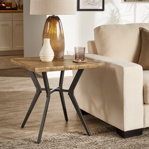 Calem Light Pine and Black Metal Base End Table by iNSPIRE Q Modern