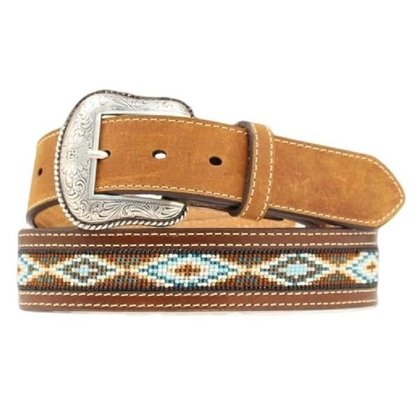 Nocona Western Belt Mens Leather Beaded Southwest Brown Blue