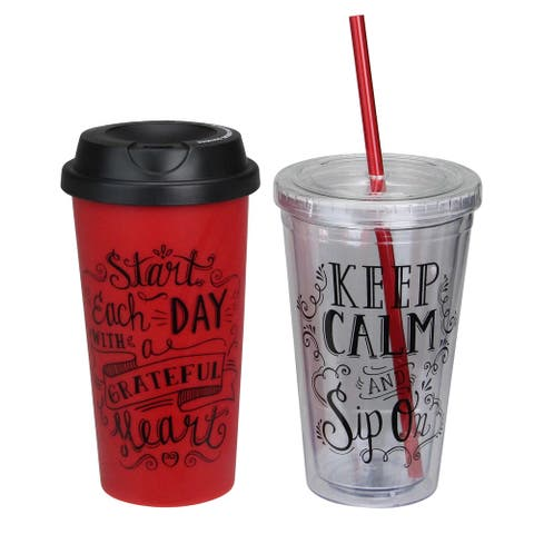 "6.75"" Inspirational Red With Black Accents Tumbler and Travel Mug Set"