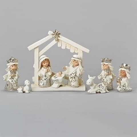 9 Piece Set White Christmas Nativity Stable Scene Figurines 6.5 - N/A