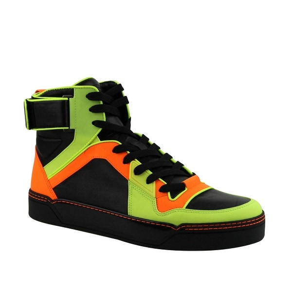 ffb19c417 Gucci High-Top Yellow / Green / Black Neon Leather Sneakers 386738 7170