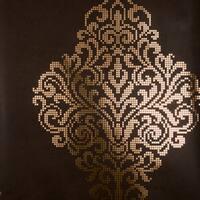 Brewster 2542-20748 Lux Brown Foil Damask Wallpaper - N/A