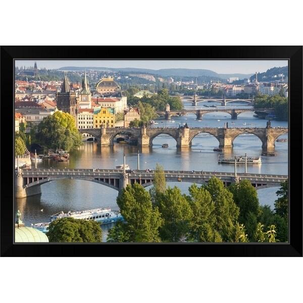 """""""Czech Republic, Prague, Bridges over Vltava River and Boat Traffic"""" Black Framed Print"""