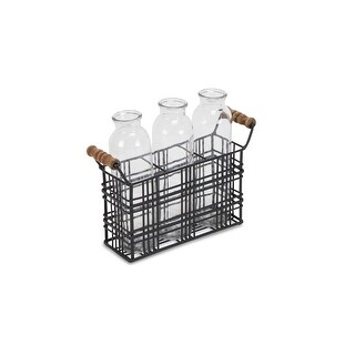 """Link to Set of 3 Black and Brown Contemporary Jars Decor Piece with Basket 9.25"""" Similar Items in Accent Pieces"""