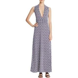 Vince Camuto Womens Maxi Dress Printed V-Neck