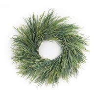 "Pack of 2 Green Pearl Grass Decorative Artificial Spring Wreaths 24""- Unlit"