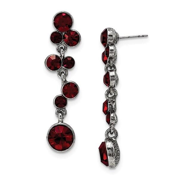 Silvertone Red Epoxy & Acrylic Post Dangle Earrings