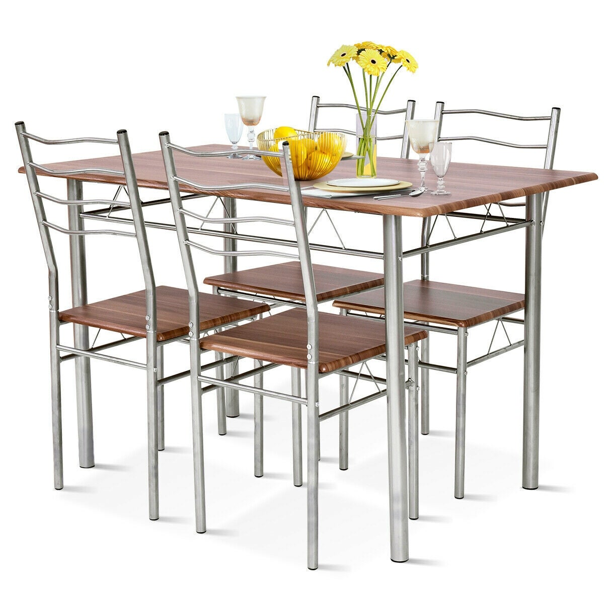 Costway 5 Piece Dining Table Set Wood Metal Kitchen Breakfast Furniture w/4  Chair Walnut - as pic
