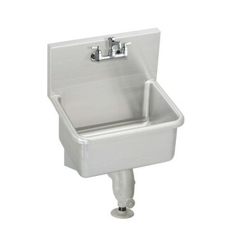 "Elkay ESSB2520C Stainless Steel 25"" x 19-1/2"" Wall Mount Service Sink Package with Commercial Faucet and Drain Fitting"