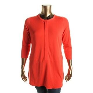 Lauren Ralph Lauren Womens Plus Tunic Top Button-Down Crinkled