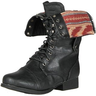 Wild Diva Women's Jetta-25Falt Military Combat Boots