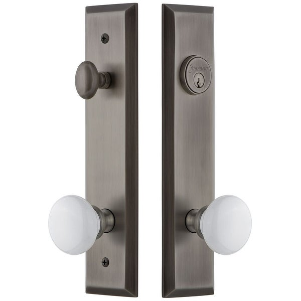 """Grandeur FAVHYD_TP_ESET_238 Fifth Avenue Solid Brass Tall Plate Single Cylinder Keyed Entry Set with Hyde Park Knob and 2-3/8"""""""