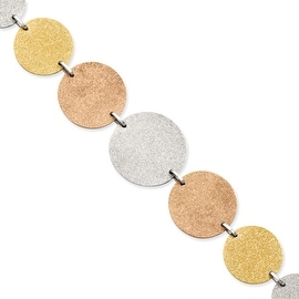 Stainless Steel Tri-Color Plated Discs 8in with ext Bracelet