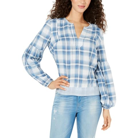 Tommy Hilfiger Womens Pullover Top Plaid Hi-Low - Blue - XS