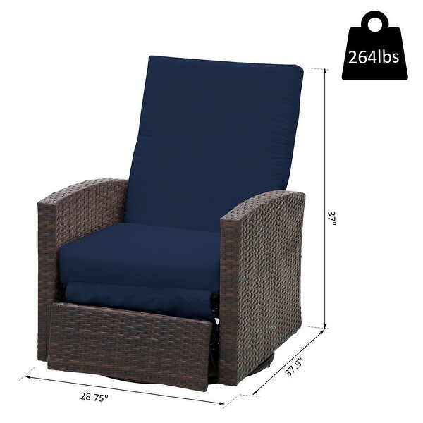 Shop Outsunny Outdoor Rattan Wicker Swivel Recliner Lounge