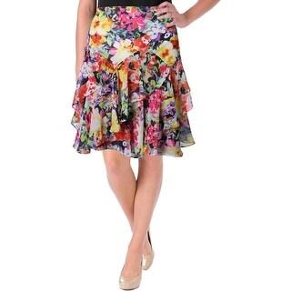 Lauren Ralph Lauren Womens Petites Flounce Skirt Floral Print Chiffon