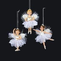 """Pack of 12 White and Silver Children Ballerinas Christmas Ornaments 4.25"""""""