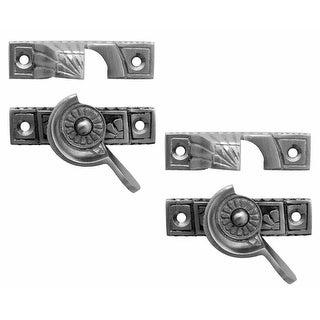 2 Ornate Solid Brass Window Sash Lock Satin Chrome