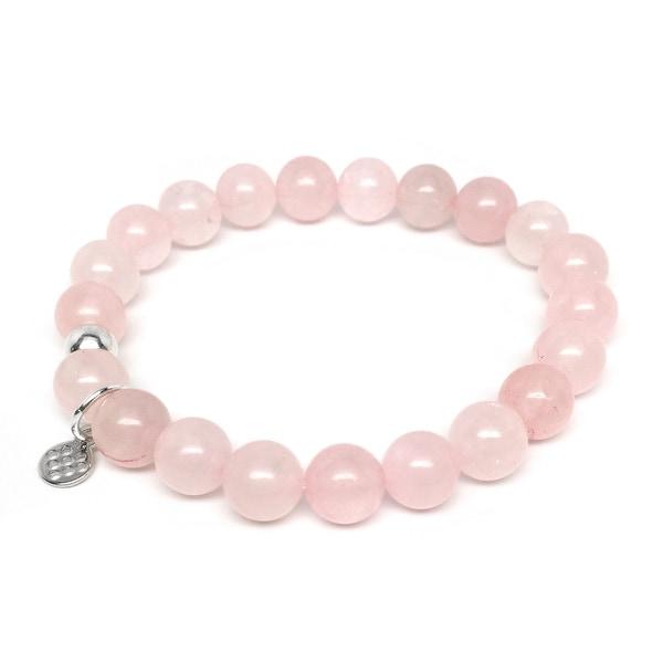 """Pink Rose Quartz Lucy 7"""" Sterling Silver Bracelet"""