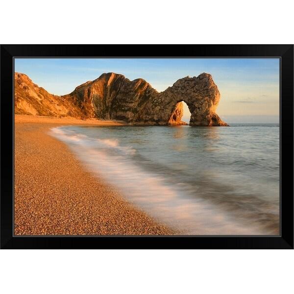 """Sunset forming on the Durdle Door on Dorset's Jurassic Coastline, Engalnd"" Black Framed Print"