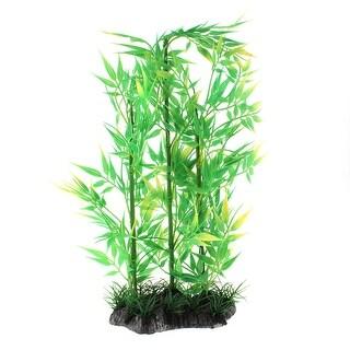 "Aquarium Fish Tank 13"" Height Plastic Artificial Fake Plant Decor Ornament Green"
