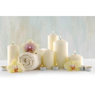 """LED Lighted Candle Orchid Spa Inspired Canvas Wall Art 11.75"""" x 15.75"""" - White"""