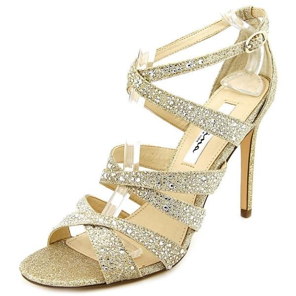 Nina Chantez Women Open Toe Synthetic Gold Sandals