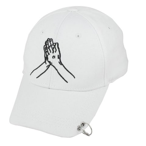 Travel Cotton Blends Palm Embroidery Adjustable Baseball Cap Hip Hop Hat White