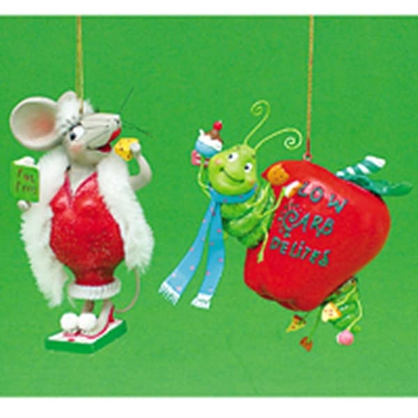 """Whimzles Low Carb Delite Worm 4"""" Christmas Ornament"""