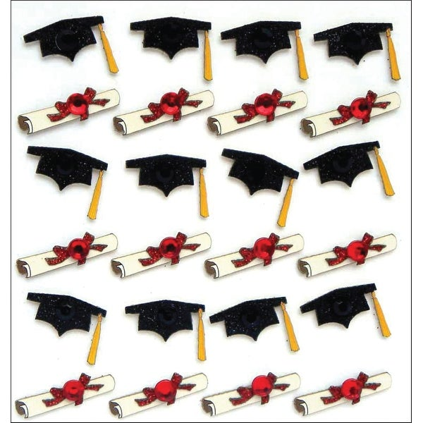 Jolee's Boutique Dimensional Stickers-Graduation Caps & Diplomas