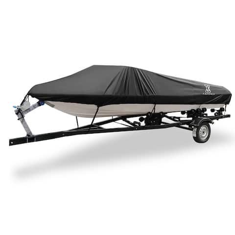 """20-22ft 100"""" 300D Polyester Boat Cover Waterproof Black V-Hull Protector - Fit Length:20-22ft,Beam Width: 100"""""""