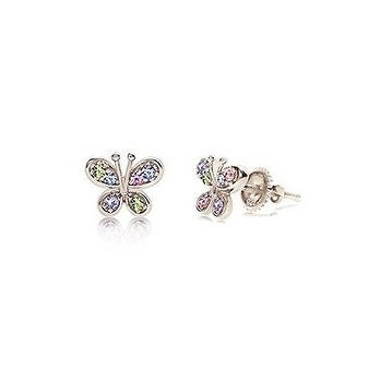 New 925 Sterling Silver White Gold Tone Crystal Butterfly Children's Earring