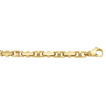 Men's 14K Gold 9 inch Fancy Link Chain Bracelet