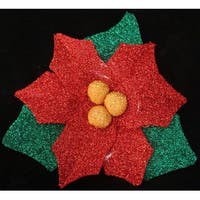 "22"" Christmas Traditions Pre-Lit Tinsel Poinsettia Christmas Window Decoration"