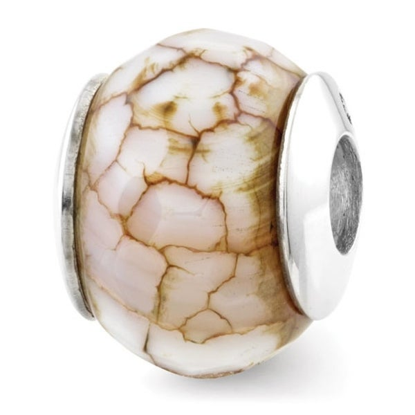 Sterling Silver Reflections Cracked Agate with Shell Stone Bead (4mm Diameter Hole)