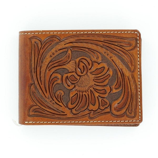 Nocona Western Wallet Mens Pass Case Bifold Tooled Saddle - One size