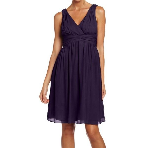 Donna Morgan New Purple Women Size 0 Jessie Silk Chiffon Dress