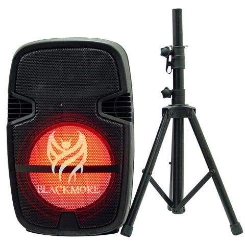 """Portable Powered 2-way Professional Loudspeaker with 15"""" Woofer, Bluetooth, Speaker Stand and MP3 Playback"""