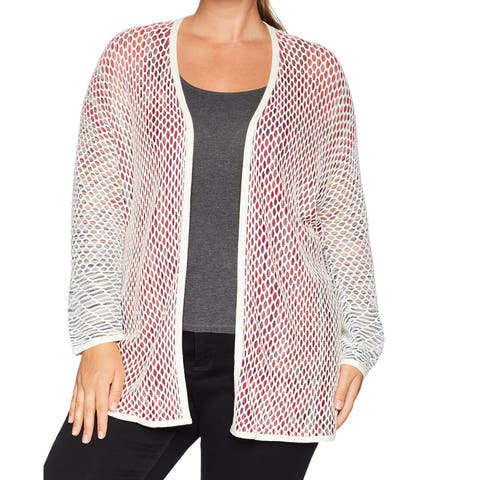 Nic+Zoe Red Women's Size 1X Plus Open-Front Cardigan Sweater