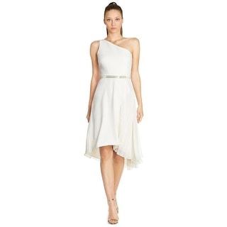 Halston Heritage One Shoulder Pleated Asymmetrical Belted Cocktail Dress - 12