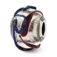 Italian Sterling Silver Reflections with Purple Textured Lines Glass Bead (4mm Diameter Hole)