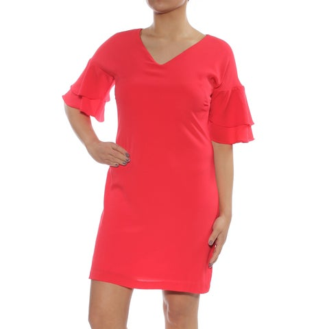 JESSICA HOWARD Womens Red Ruffle Sleeve V Neck Above The Knee Shift Cocktail Dress Petites Size: 4