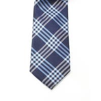 Black Brown 1826 NEW Blue Mens One Size Woven Plaid Silk Neck Tie